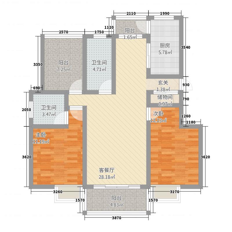 东方雅苑2118.72㎡户型2室2厅2卫1厨