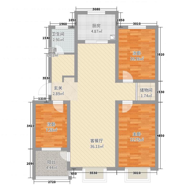 青青小镇117.00㎡户型3室2厅1卫1厨