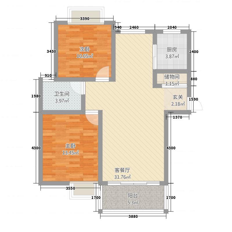 东方雅苑21.20㎡户型2室2厅1卫1厨