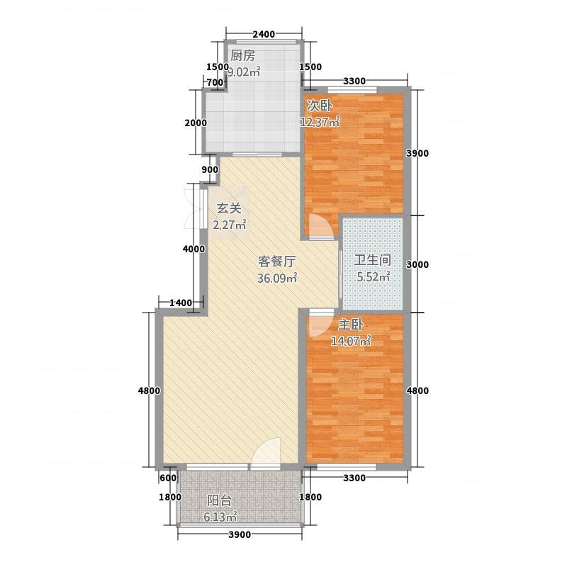 龙泽雅苑2112.20㎡户型2室2厅1卫1厨