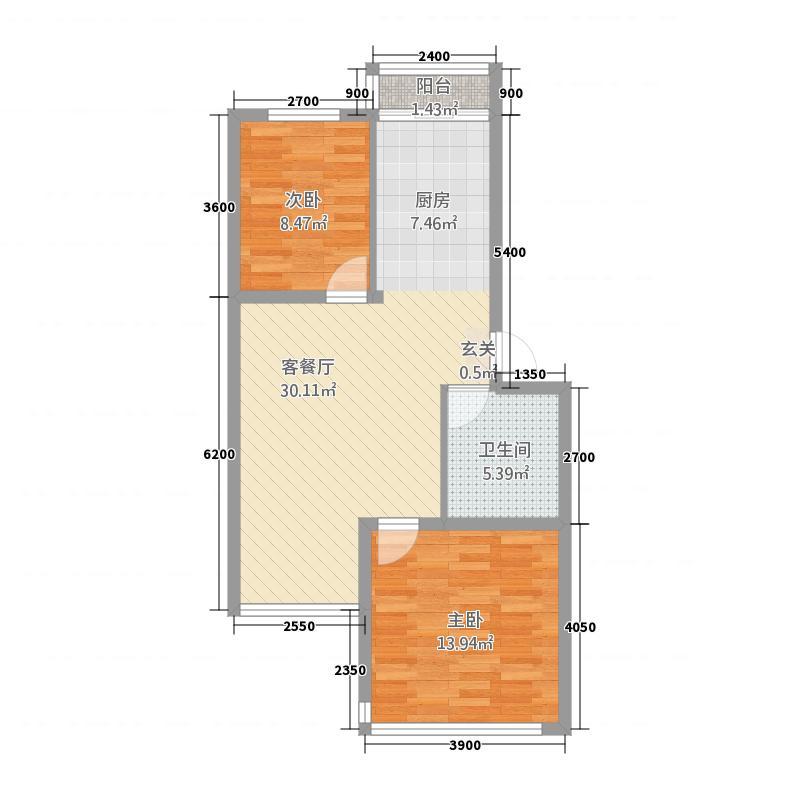 金洲家园81.70㎡户型2室1厅1卫1厨