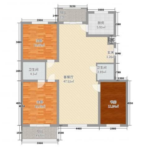 学府康城3室1厅2卫1厨141.00㎡户型图