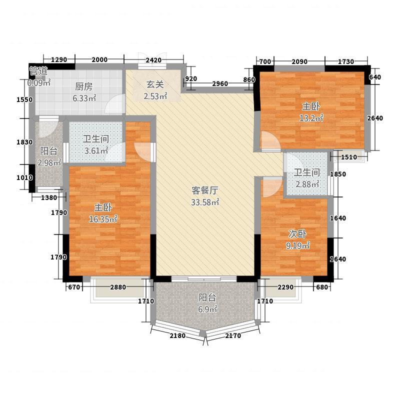 振业江岸32125.20㎡云台户型3室2厅2卫1厨