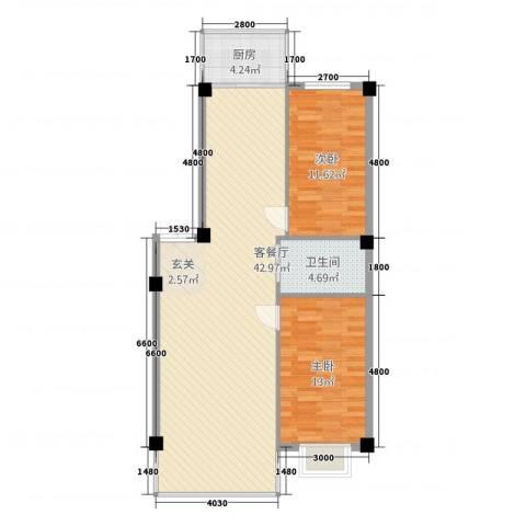 聚隆城尚城2室1厅1卫1厨104.00㎡户型图