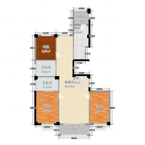 聚隆城尚城3室1厅2卫1厨161.00㎡户型图