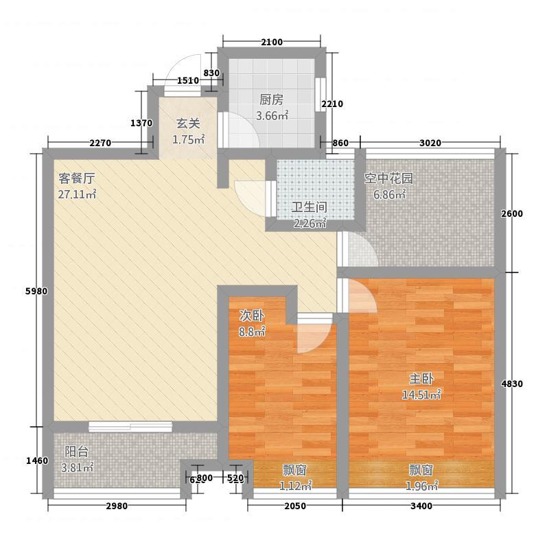 乐业・丹桂园328.20㎡E户型3室2厅1卫1厨