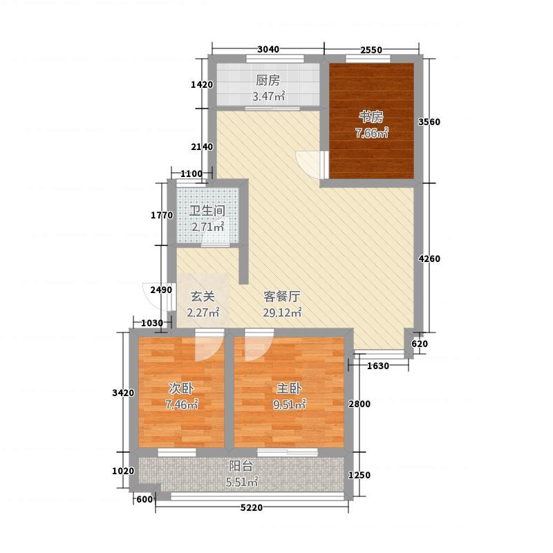新港湾家园6.00㎡户型3室2厅1卫1厨