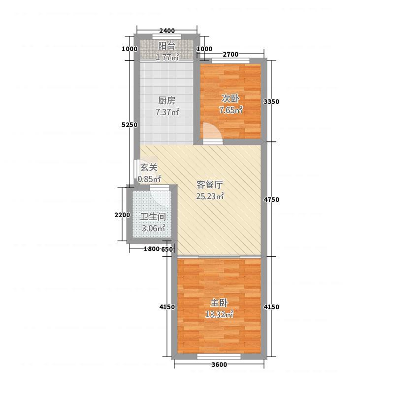 金洲家园72.83㎡户型2室1厅1卫1厨