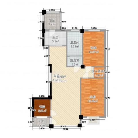 聚隆城尚城3室2厅1卫1厨132.00㎡户型图