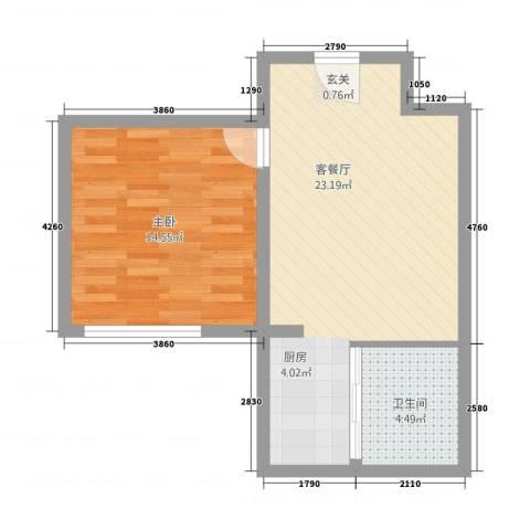 城市之光1室1厅1卫0厨60.00㎡户型图
