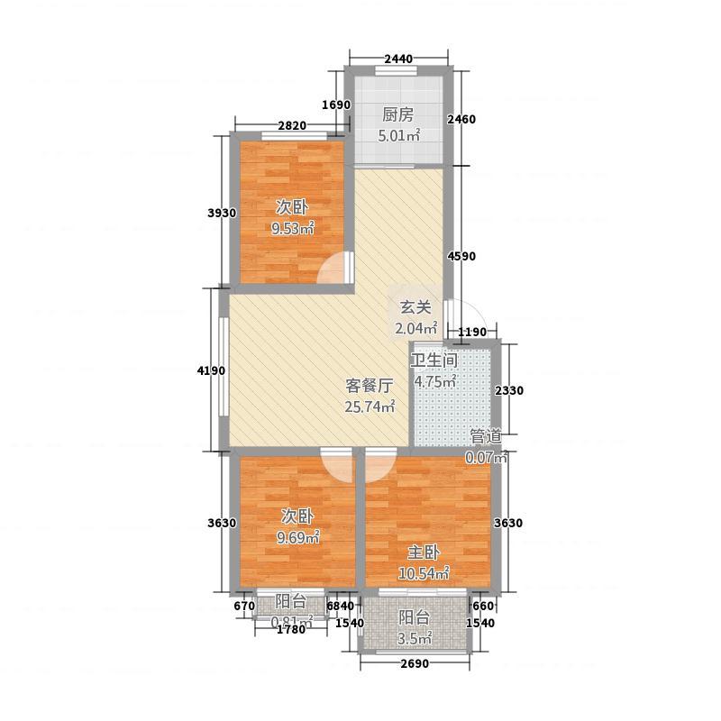 四合・阳光城1.80㎡C户型3室2厅1卫1厨