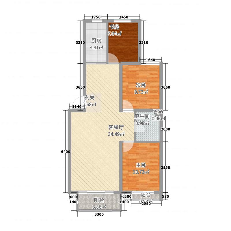 四合・阳光城17.33㎡D户型3室2厅1卫1厨