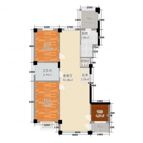 聚隆城尚城3室1厅1卫1厨128.00㎡户型图