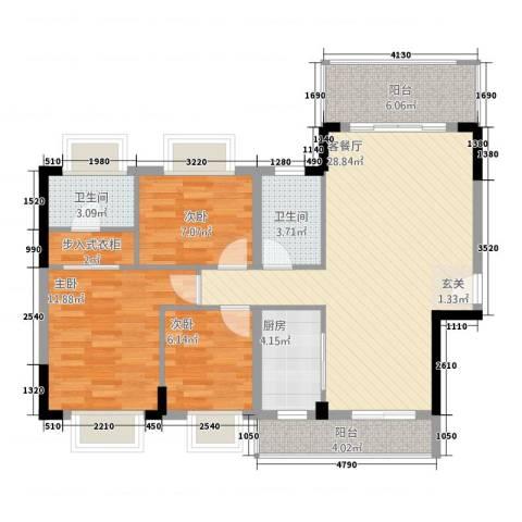 盛世家园3室1厅2卫1厨76.96㎡户型图