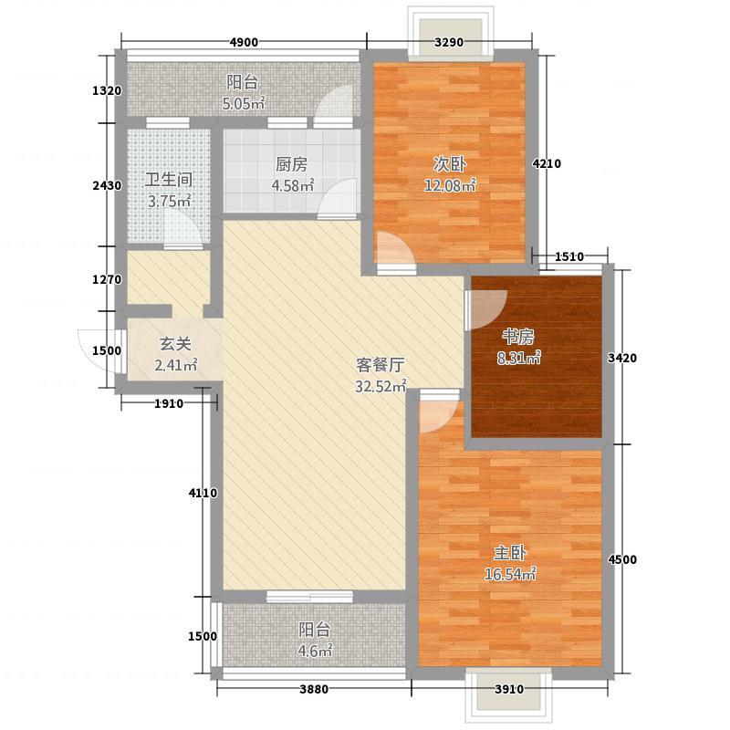 颐和名居121.14㎡户型3室2厅1卫1厨