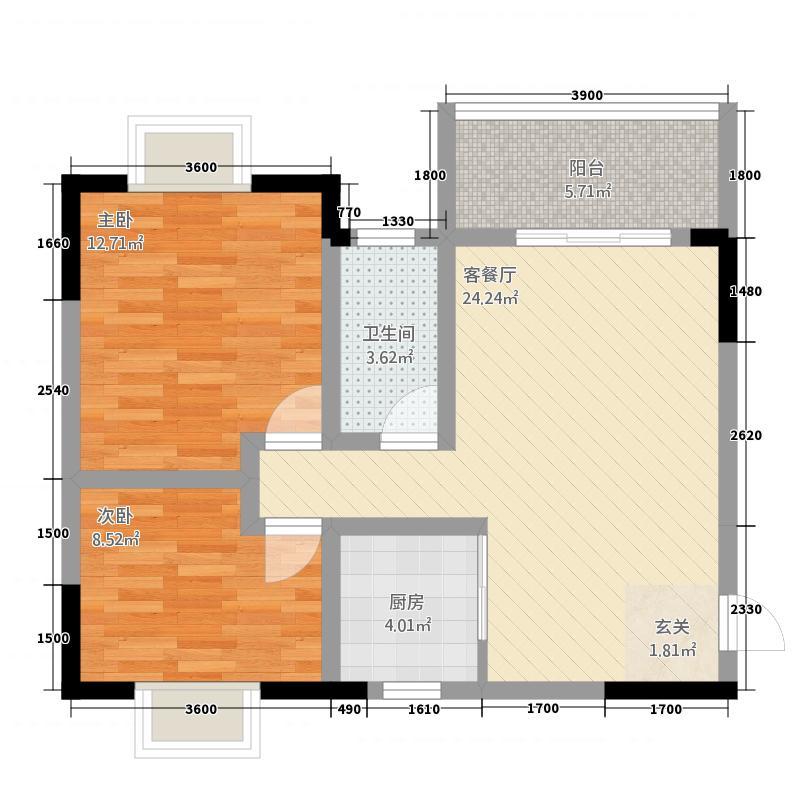 金鑫苑2214户型2室2厅1卫1厨