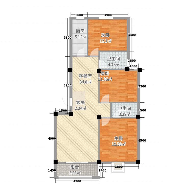 紫荆花园三期112.00㎡B户型3室2厅2卫1厨