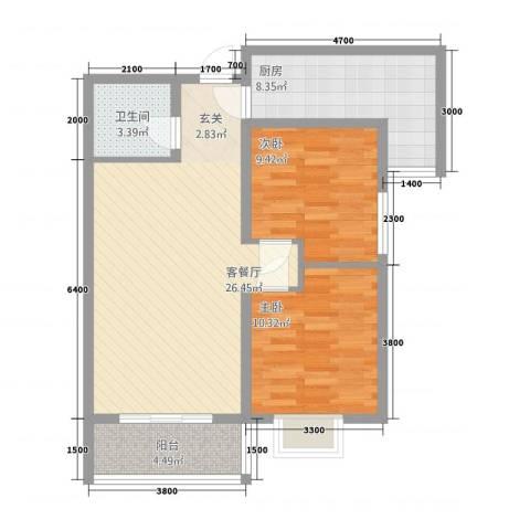 侯马时代广场2室1厅1卫1厨62.41㎡户型图