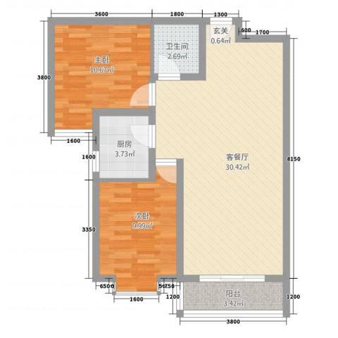 隆城国际三期2室1厅1卫1厨60.91㎡户型图