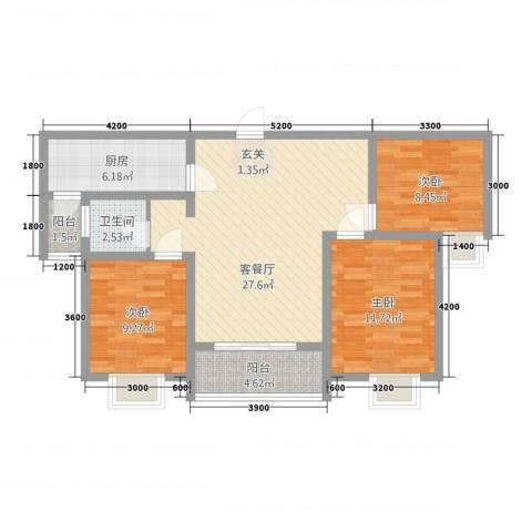 侯马时代广场3室1厅1卫1厨71.86㎡户型图
