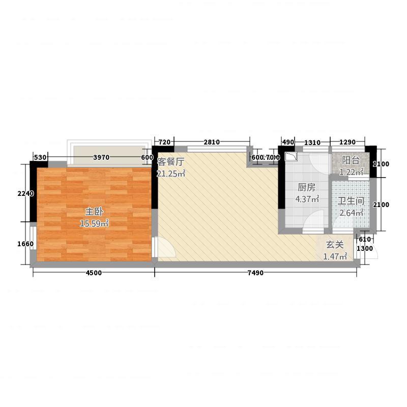 惠邦国际城61.40㎡c-2户型1室2厅1卫1厨