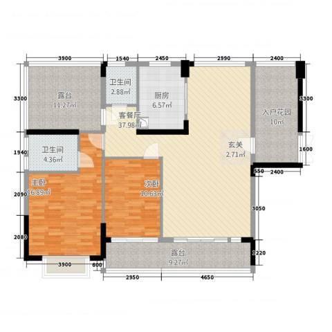 高峰锦园2室1厅2卫1厨156.00㎡户型图