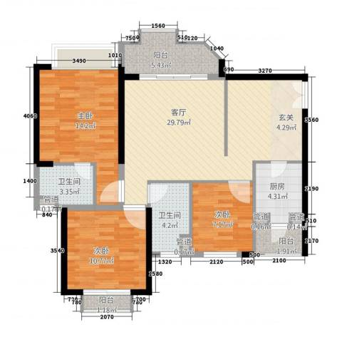 锦绣银湾别墅3室1厅2卫1厨119.00㎡户型图