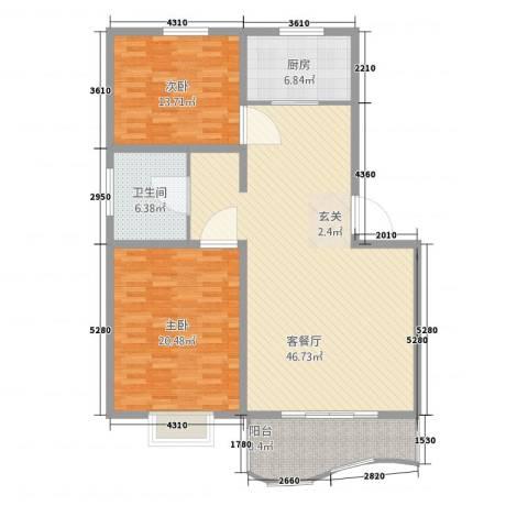 特变・阳光绿景2室1厅1卫1厨102.55㎡户型图