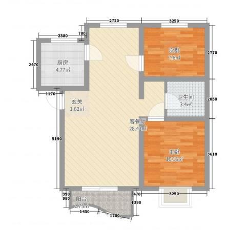 特变・阳光绿景2室1厅1卫1厨84.00㎡户型图