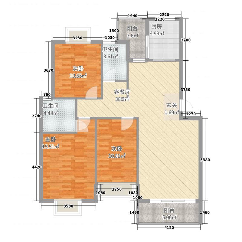 广惠珑�城114.83㎡AC1/C2户型3室2厅2卫1厨