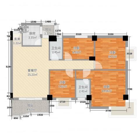东堤湾4室1厅2卫1厨111.00㎡户型图