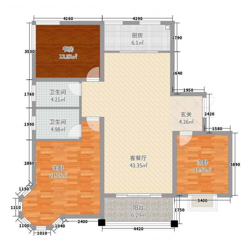 嵩基鸿润城156.00㎡156户型3室2厅2卫1厨