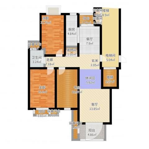 书香名门3室1厅1卫1厨143.00㎡户型图