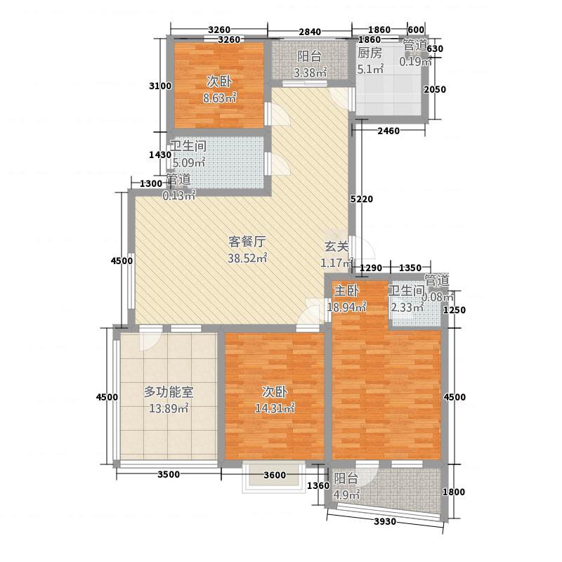 利源幸福�145.11㎡L高层户型3室2厅2卫1厨