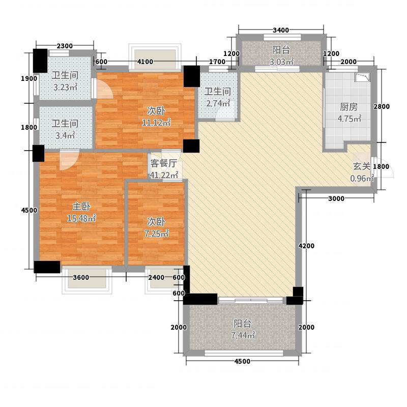 联创城市广场12.00㎡住宅户型3室2厅2卫1厨