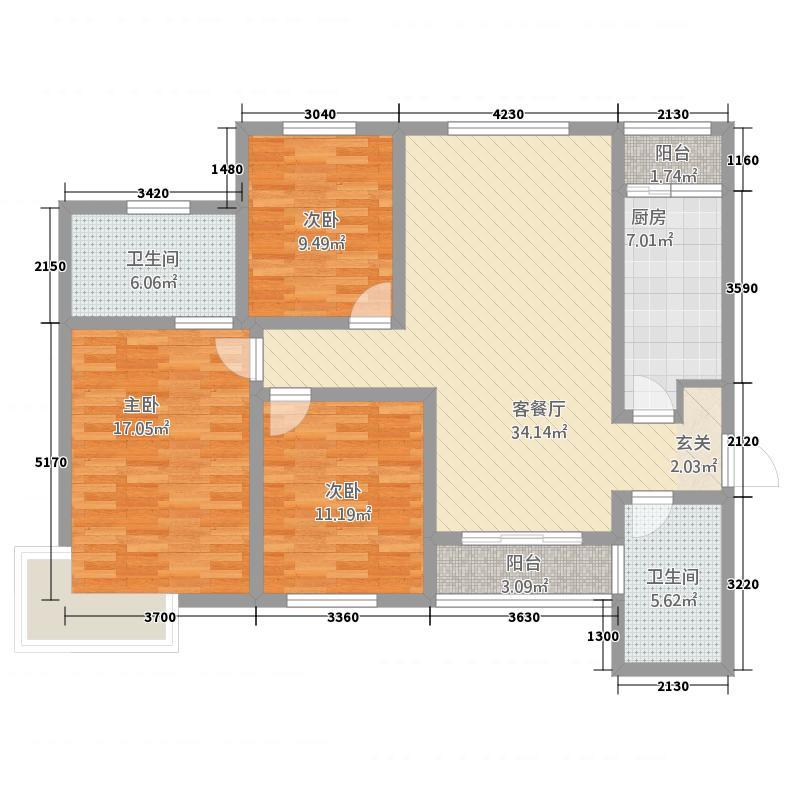 城上城138.00㎡F户型3室2厅2卫