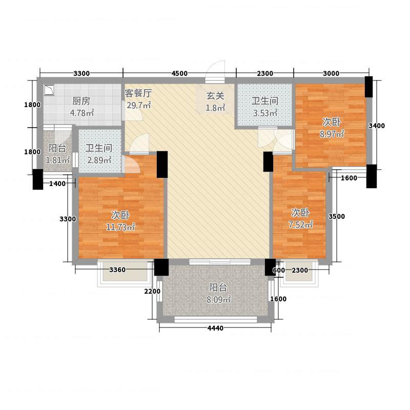 联创城市广场13.00㎡住宅B户型3室2厅1卫1厨
