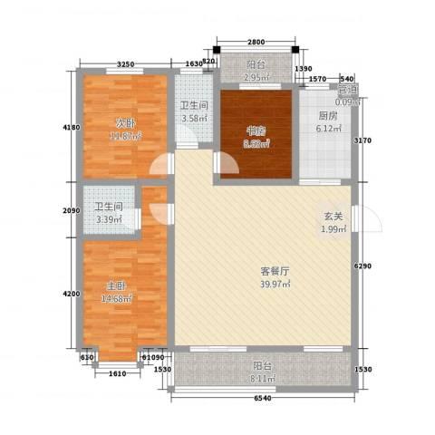 苹果公馆3室1厅2卫1厨143.00㎡户型图
