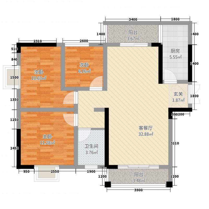 金阳黄金湾3.20㎡户型3室2厅2卫1厨