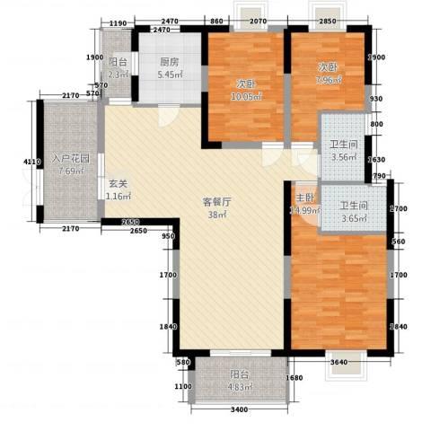 昆山鑫苑国际城市花园3室1厅2卫1厨140.00㎡户型图