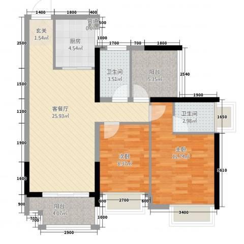 深基天海城市花园2室1厅2卫1厨67.55㎡户型图