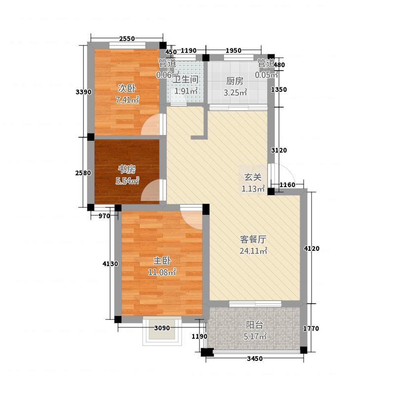 金坤雍景园84.70㎡C户型3室2厅1卫1厨