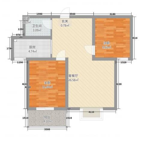汇洋・龙湾2室1厅1卫1厨87.00㎡户型图