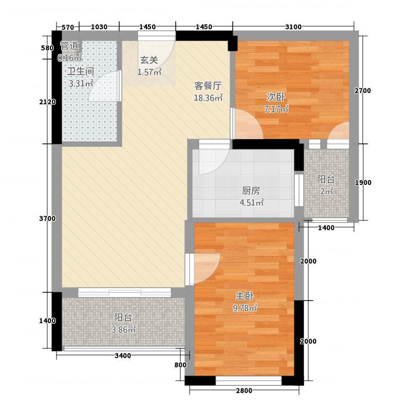 禾田居中心67.80㎡2栋B户型2室2厅1卫1厨