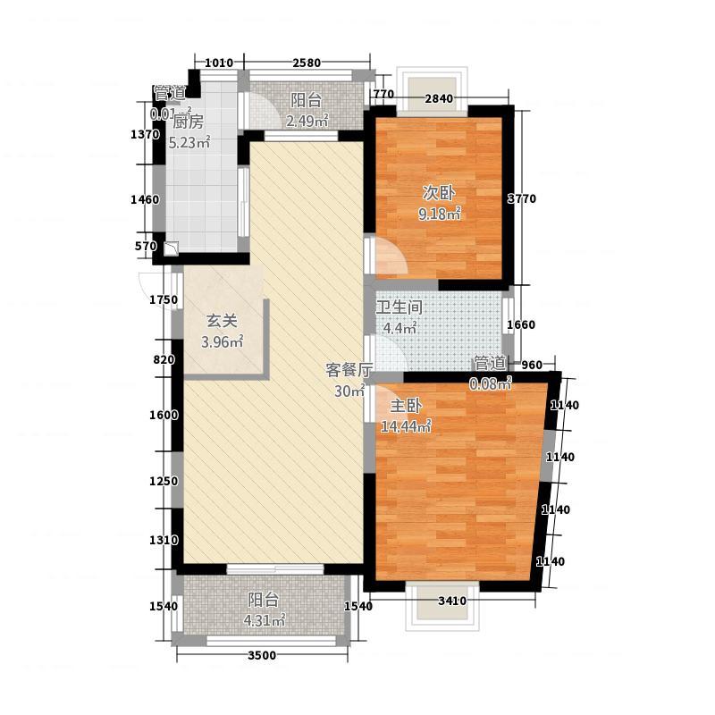 人生港湾南欧城103.00㎡B4户型2室2厅1卫1厨