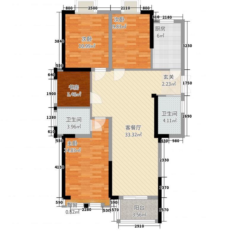 中航・长江广场131.20㎡两停户型4室2厅2卫1厨