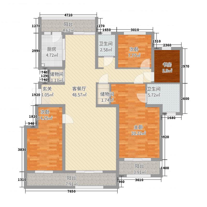 晖达・新世界187.00㎡D3东户户型4室2厅2卫1厨