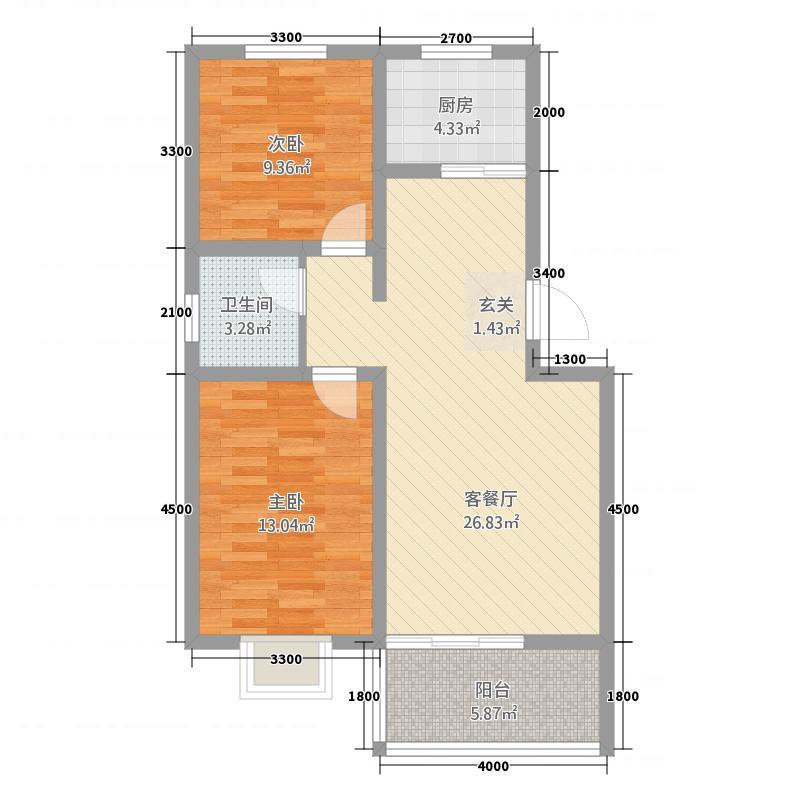 龙凤馨园85.00㎡02户型2室2厅1卫1厨
