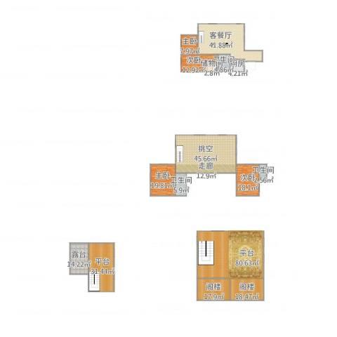 依云小镇福水园4室1厅3卫1厨450.00㎡户型图