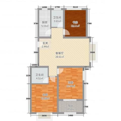 美林幸福里3室1厅2卫1厨120.00㎡户型图